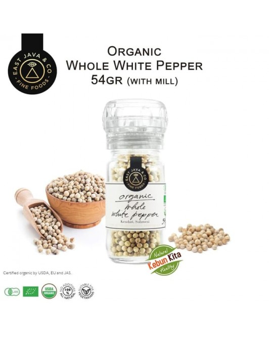Organic Whole White Pepper with Mill 54gr (Lada Putih Utuh)